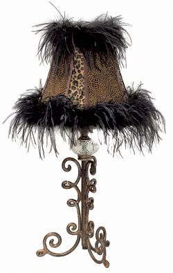 Black Feather And Leopard Print Table Lamp Home Lighting