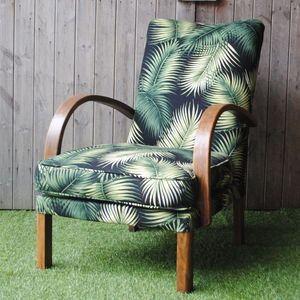 Vintage 1940s Refurbished Palm Fabric Utility Chair - furniture