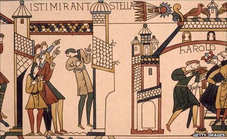 "Halley's Comet on the Bayeux Tapestry. It was seen by some as an ill omen for King Harold of England, who was then defeated by French invaders. ©Mona Evans ""Halley's Comet"" http://www.bellaonline.com/articles/art44795.asp: Celestial Events, Features Halley, Ancient Greek, Halley Comet, Northern Greece, Bayeux Tapestries, Magazines, Tapestries Features, Evans Halley"