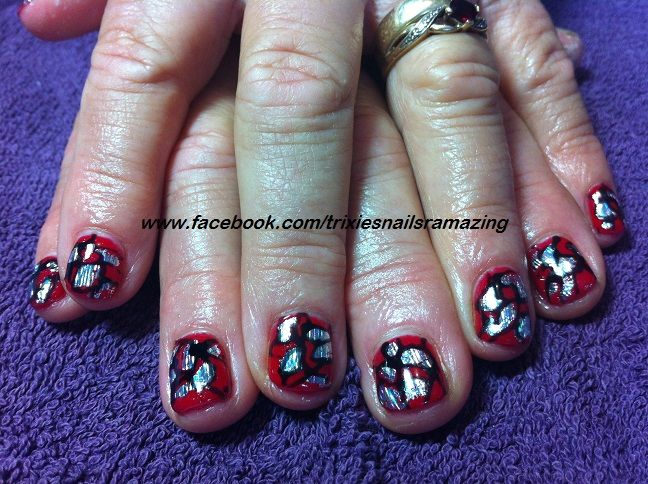 gel polish #factured ladybug
