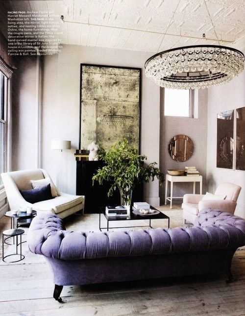 Luxury Lavender Tufted Sofa Aged Mirror Interior Design Living Room Decorating Before And After