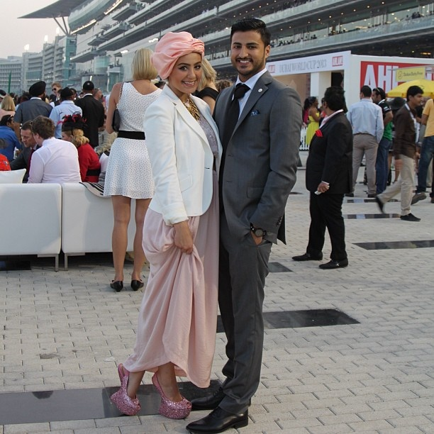 Live from the Dubai World Cup! Me & Ahmed dressed all in @sacoorbrosme. Loving our outfits! #HybridsForSacoorBrothers - @ascia_akf- #webstagram