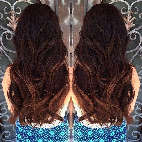 dark brown hair with reddish brown balayage highlights