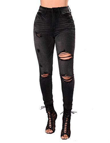 47c4960f28c Parker Smith Women s Ripped Jeans High Waist Black Skinny Slim Pants For  Juniors