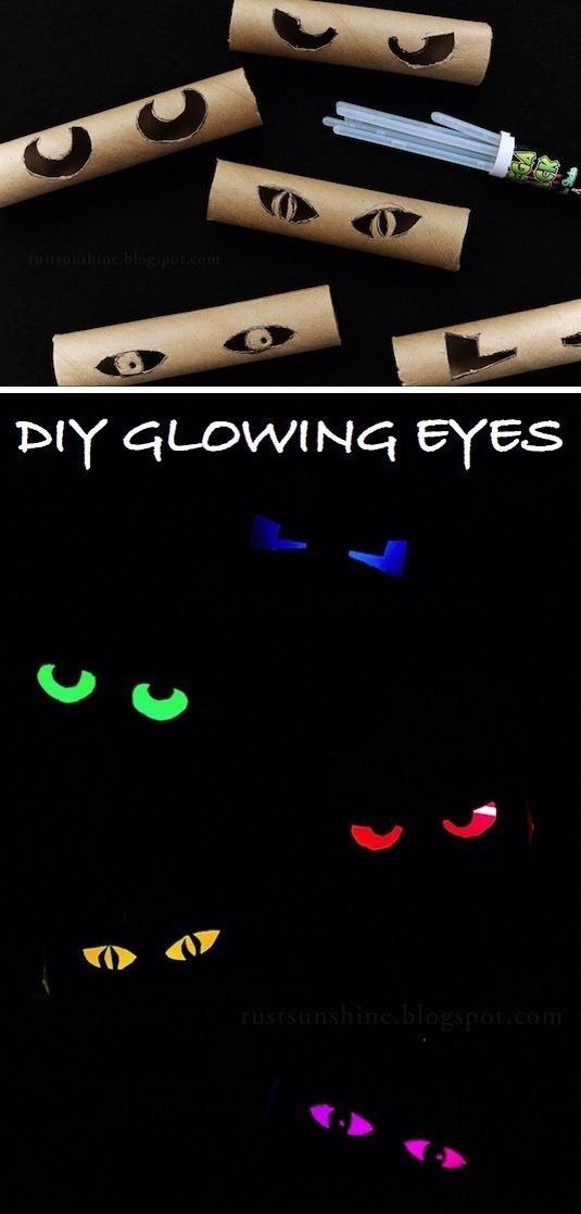 Glow sticks and toilet rolls to make creepy glowing eyes! Super easy and quick!