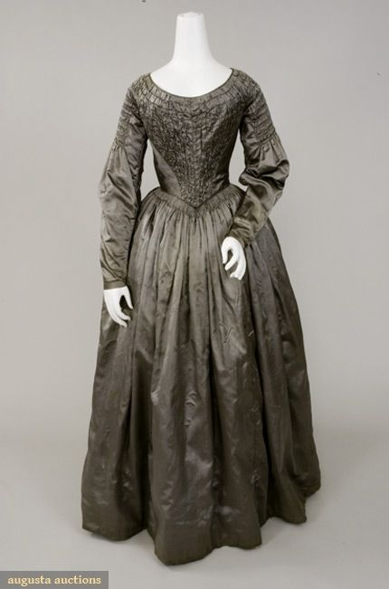 Pewter Grey Silk Satin Dress, 1840s, Augusta Auctions, November, 2007 -Tasha Tudor Historic Costume Collection, Lot 5