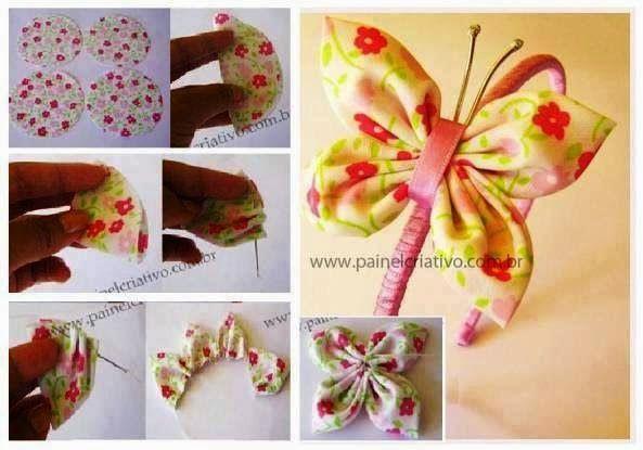 ARTE COM QUIANE - Paps,Moldes,E.V.A,Feltro,Costuras,Fofuchas 3D: borboleta de fuxico