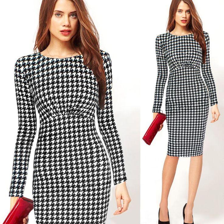 Summer Women Contrast Polka Dot Dress Wear To Work full Sleeve Casual Sheath Elegant Bodycon Pencil Dresses