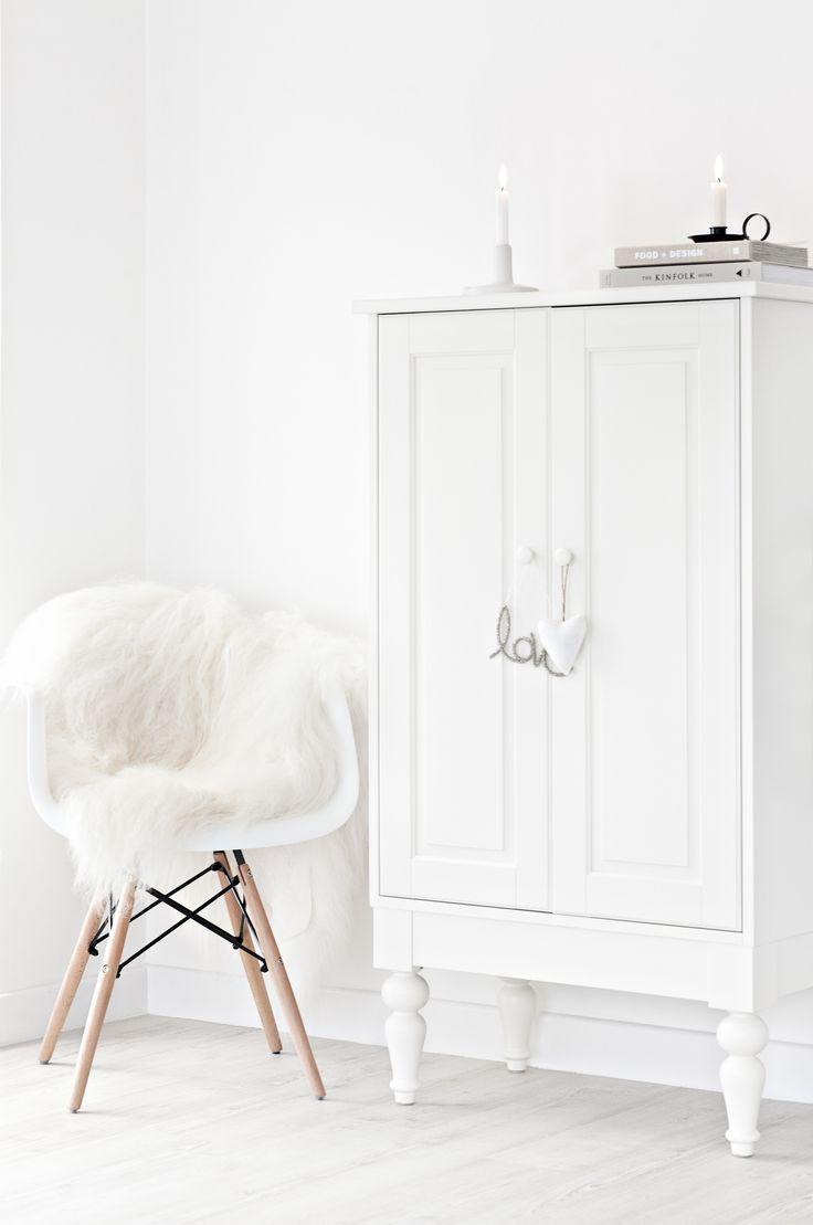 Blog — Mae Gabriel  White Interiors. Eames Chair. White Sheepskin Rug. Serax Belgium Candle Holder.