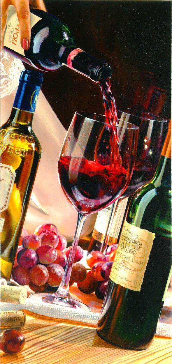 """Wine bar"" painting by E. Denis #wine #art"