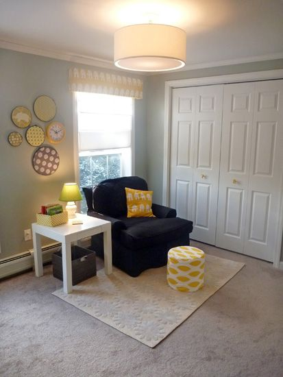 I would need a rocker I think but otherwise LOVE this little nursery nook!: Yellow Gray Nurseries, Yellow Grey Nurseries Ideas, Baby Girls, Grey Yellow Nurseries, Fun Crafts, Embroidery Hoops, Grey Yellow Nursery, Lights Fixture, Baby Nurseries