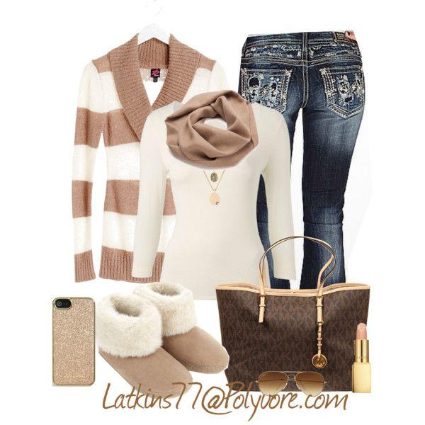 """Stripe Fold Collar Sweater"" by latkins77 on Polyvore"