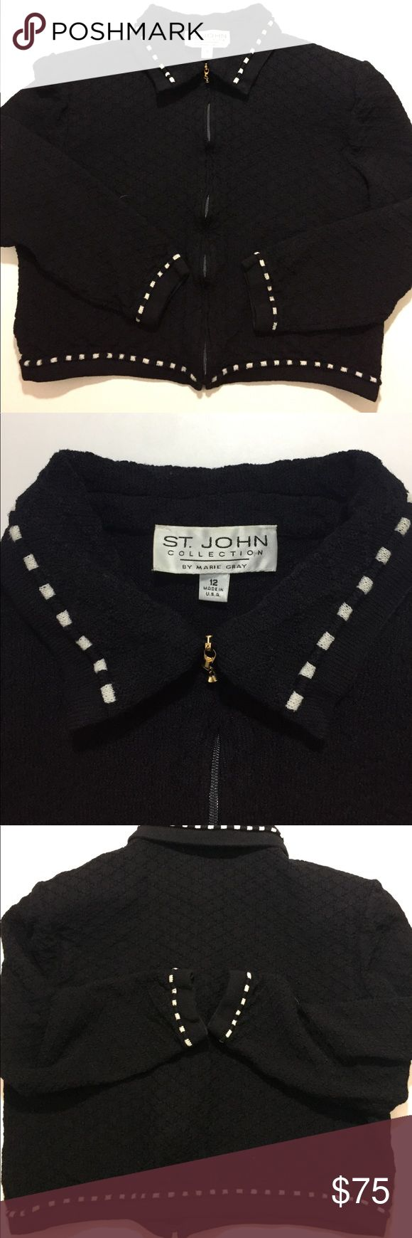 St. John Black and White Zip Up Jacket / Sweater St. John collection by Marie Gray. Black and White Jacket. Size 12. 16 inches across and 17 inches from top to bottom- lying flat. Zipper up the front. All in great condition. Shoulder pads shown in pics. St. John Collection Sweaters Cardigans