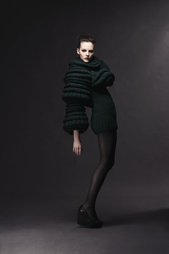 Sculptural Knitwear creative fashion; three-dimensional tubular sleeves // Sandra Backlund