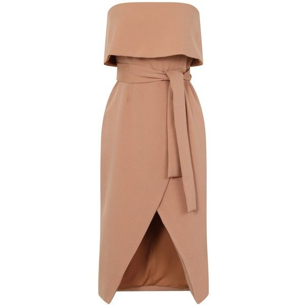 Camel Bandeau Cropped Tie Front Midi Dress ($74) ❤ liked on Polyvore featuring dresses, beige dress, beige midi dress, midi dresses, calf length dresses and bandeau dress