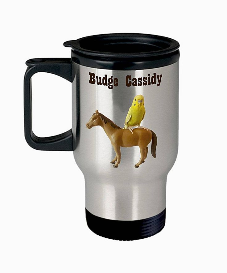 Funny Budgie Travel Mug, Budgie Print, Parakeet Picture Thermal Cup, Gift for Budgie Mom or Dad or Parakeet Lover, Funny Bird Cup, 14oz by PortunaghDesign on Etsy