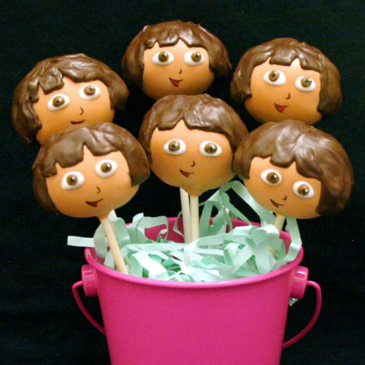 birthday cake pops | 12 Dora the Explorer Cake Pops - for birthday party favors, gifts