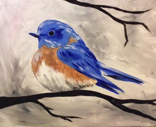 Cozy Blue Bird - Lindsey Sniffin - Paint Nite