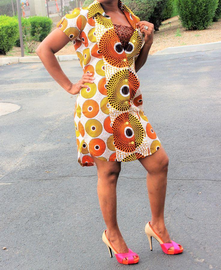 Midi African print dress, Ankara print dress, tela africana,  robe africaine, tissus Africain, tessuti africani, African print, Ankara print by Africshop on Etsy