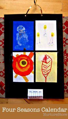 Gorgeous four seasons calendar kids can make for a New Year craft :: homemade calendar craft