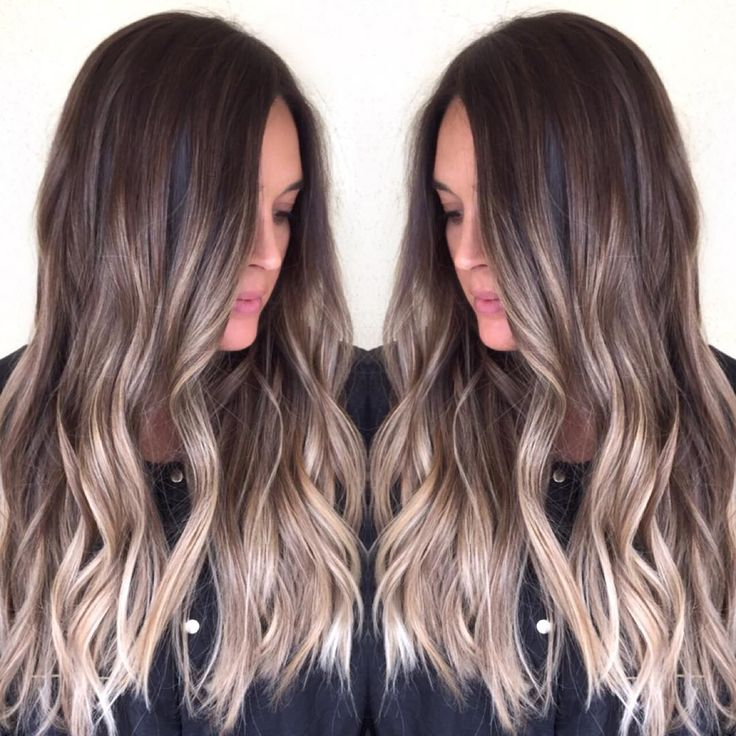 balayage highlights | ombre | dark brunette hair to a natural blonde ombre.