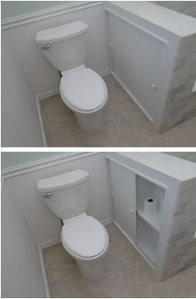 "Inspired by another Pinterest pin that showed a pull-out pony-wall storage for TP, it turned out better to access the storage from the side.  We can fit a 3x3 package of TP on the bottom shelf, and the back section holds our plunger and toilet scrubber brush.  The pony wall is about 8"" wide with 6"" inside clearance. The doors are made from BeadBoard and just slide in grooves (no wheels!)."