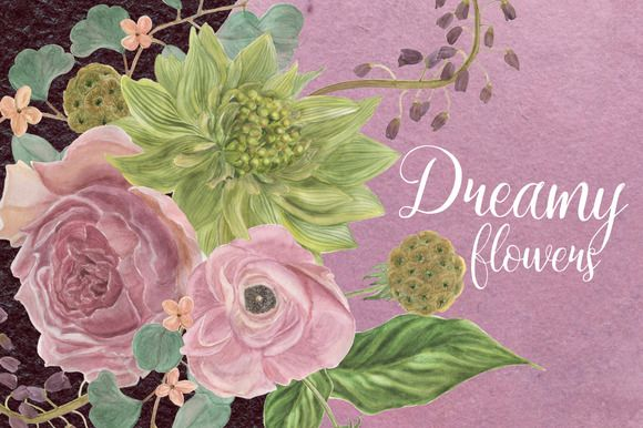 Dreamy flowers by ramika on @creativemarket