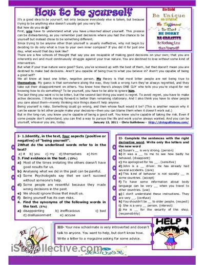 How To Be Yourself worksheet - Free ESL printable worksheets made by teachers