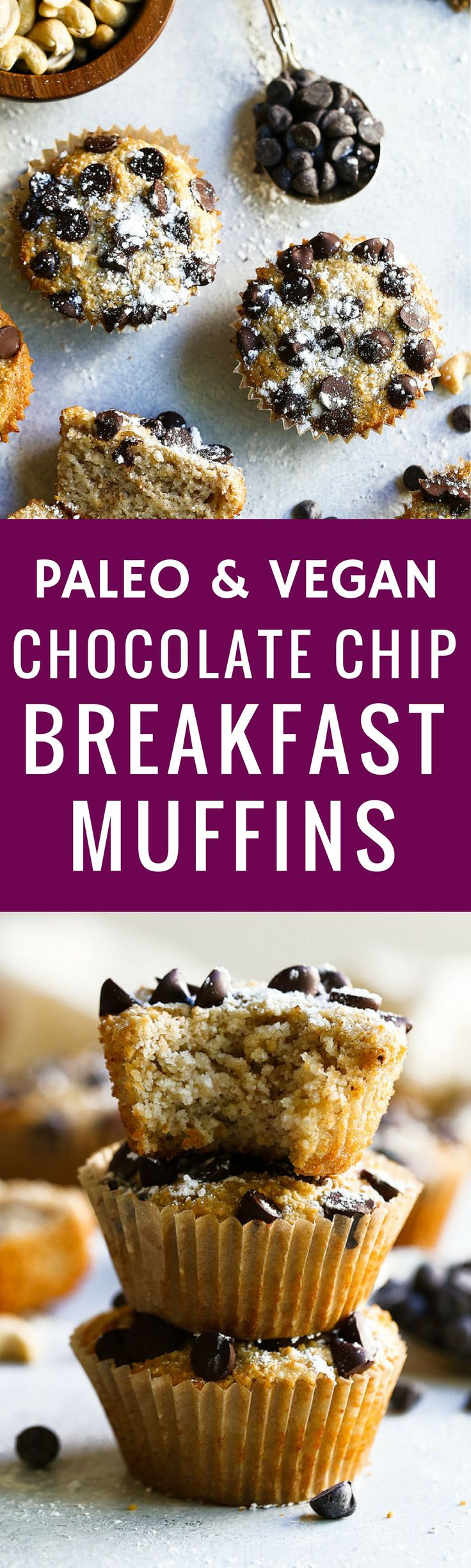 5 Minute Paleo Vegan Chocolate Chip Breakfast Muffins! Best paleo muffins! Easy gluten free breakfast. Best healthy breakfast recipes. Easy gluten free muffins. Best chocolate recipes. Easy vegan muffins recipe!