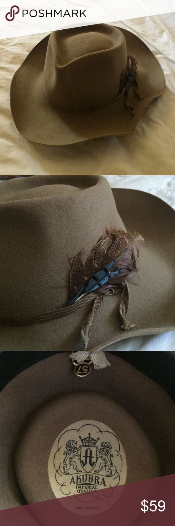 """Akubra """"Snowy River"""" pure fur felt wide brim hat Excellent condition.  This brand hat is worn by musicians like James Bay.  They retail for over $150.  Interior had leather lining.  This will fit a women's small to medium size head.  Will fit a man size small head.  You can google sizes to get accuracy of what a size 57 hat measures. Akubra Accessories Hats"""