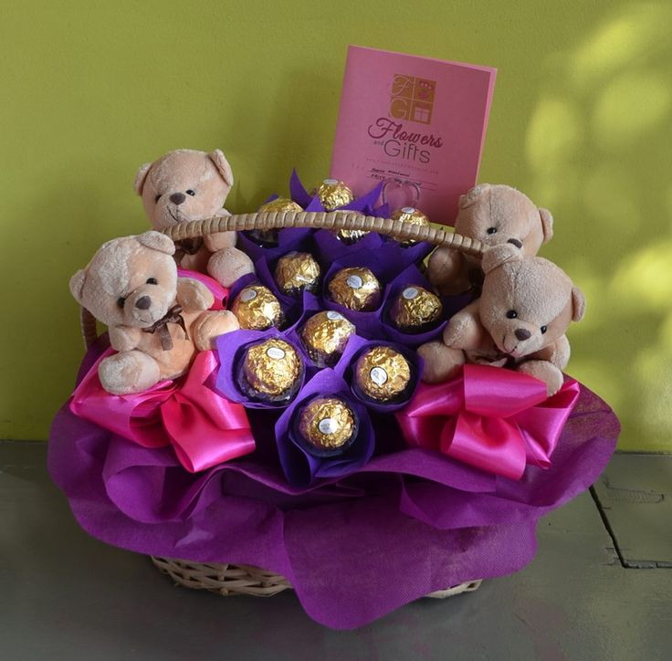 Chocolate Basket with Bears #chocolates #ferreroinabasket #basketofchocolates #chocolatesandbears #bears #fgdavao #gift #giftshop #giftdelivery #davao #philippines