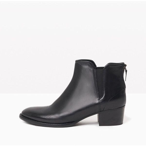 Max&Co. Leather Chelsea boots with zip ($270) ❤ liked on Polyvore featuring shoes, boots, ankle booties, black, leather ankle booties, leather boots, zipper boots, black leather ankle booties and chelsea boots