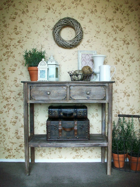 How to Create a Vignette {do it yourself decorating}  love the tacks on the drawers