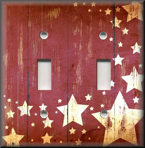 Light Switch Plate Cover - Country Home Decor - Aged Barn Stars - Red Primitive
