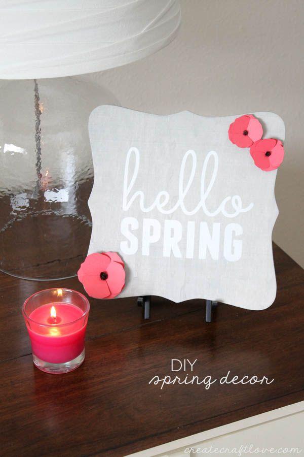 DIY Hello Spring home decor idea! Cute spring decoration.
