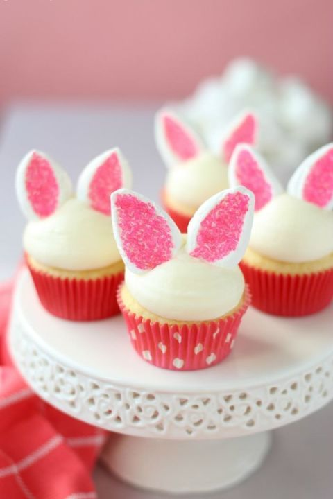 Easy Bunny Cupcakes – We can't wait to bite off those marshmallow sprinkle ears. Click through for the entire gallery and for more easter ideas.