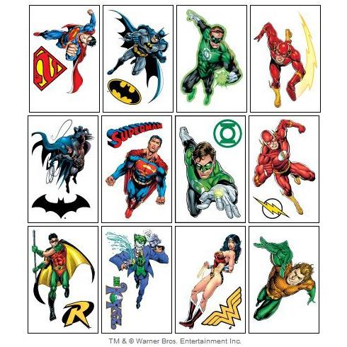 DC Comics Superhero Temporary Tattoos
