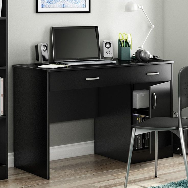This Home Office Work Desk in Black Finish is a practical and handsome addition to any room. Ideal for checking email or pay bills on your laptop, this desk has simple lines and plenty of enclosed sto