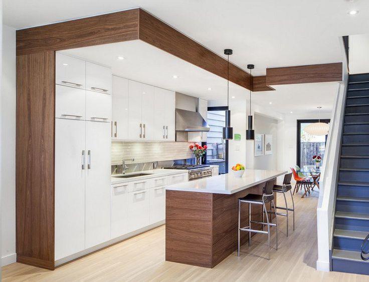 meubles cuisine ikea en blanc mat et bois, ilot central et suspensions noires