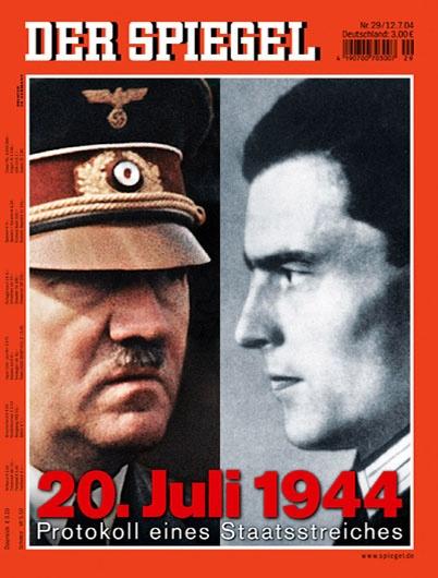 Revista Der Spiegel (Alemania) - 12 de julio de 2004: El 20 de julio de 1944, un grupo de oficiales organizados por el coronel Claus Schenk Graf von Stauffenberg realizó un acto fallido para asesinar a Hitler, como parte de un Golpe de Estado basado en la denominada Operación Valquiria.