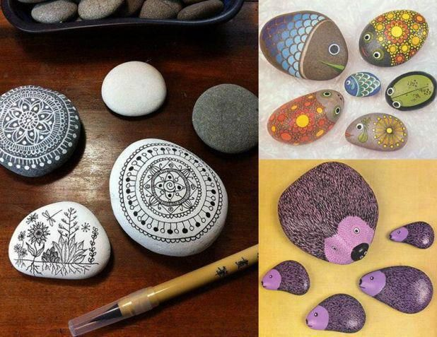 Cantos rodados decoradosPainting Pebble, Stones Art, Painting Rocks, Diy Art, Rivers Rocks, Painted Stones, Pebble Painting, Painting Stones, Rocks Art