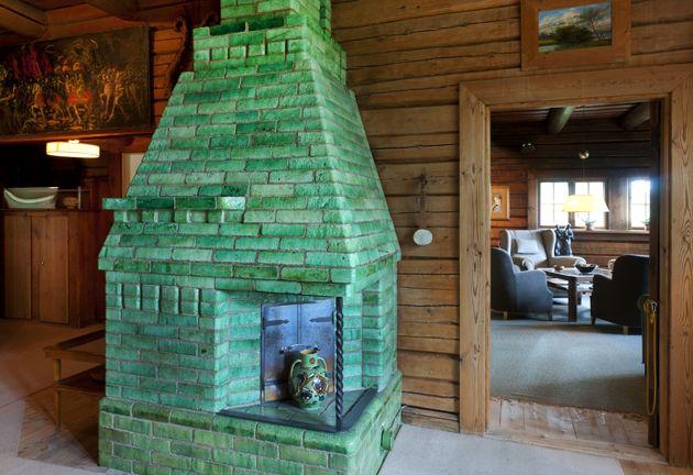Beautiful green stove at Ainola home. Jean Sibelius house in Finland