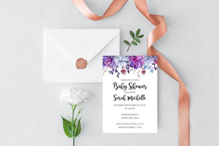 Our Purple Succulents Baby Shower Invitation is the perfect design for your baby shower! Based in Byron Bay, Melissa Fay Designs specialises in Wedding Stationery and Party Invitations with a Watercolour and Floral twist.