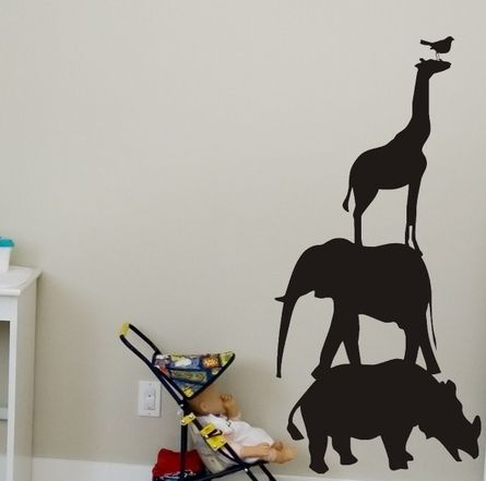 Chalkboard Animals Wall Decal two's room