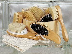 """Spa-Toned"" Wood Spa Bucket Gift Set by Spacific Essentials. $11.00. Bath Brush. Wood Sauna Bucket. Complexion Brush and Nail Brush. Wood Hair Brush. Sisal Wash Cloth. Spa-Toned Bath Set"