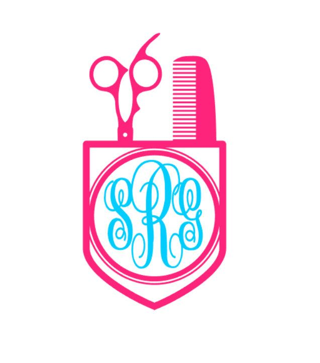 Scissor Pocket Monogram Vinyl Decal Custom Hair Stylist