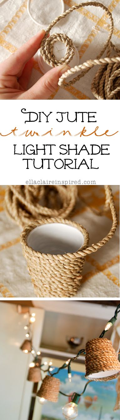 How to make Jute Twinkle Light Shades. Great for fall decor or out on the patio!