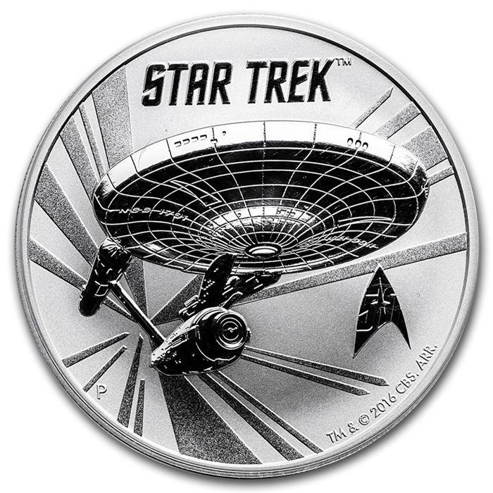 Australië - Star Trek Enterprise 1 oz 999 zilveren schijfje Perth Mint NCC-1701  Star Trek Enterprise NCC-1701-1 oz 999 fijne zilveren muntTer gelegenheid van het 50-jarig Star Trek jubileum - editie van slechts 50.000 munten!Mooie zilveren munt ter gelegenheid van de 50ste verjaardag van Star Trek.Beperkte oplage van slechts 50.000 munten. Grote investering - zeer gegeerd door verzamelaars.Zeldzame en gewilde items zullen altijd hun waarde behouden.Details:Gewicht: 1 oz - 31.1…