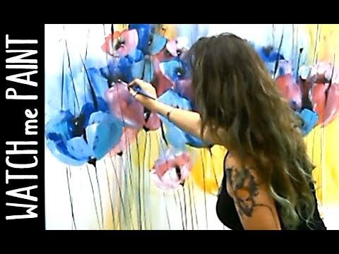 Pour Acrylic Paint: Create flowers with a blown puddle Pour – YouTube