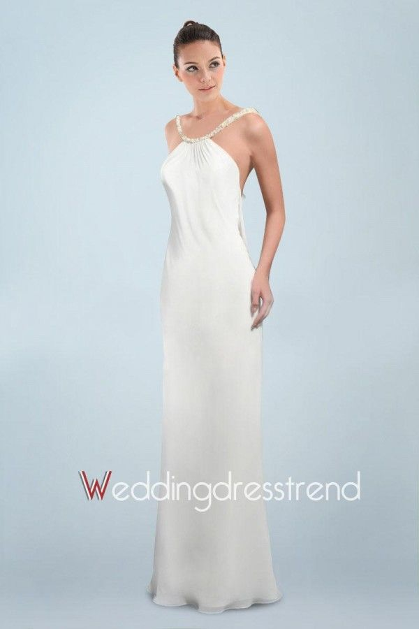 Voluptuous Chiffon Column Wedding Dress Featuring Beaded Strap and Sexy Open Back